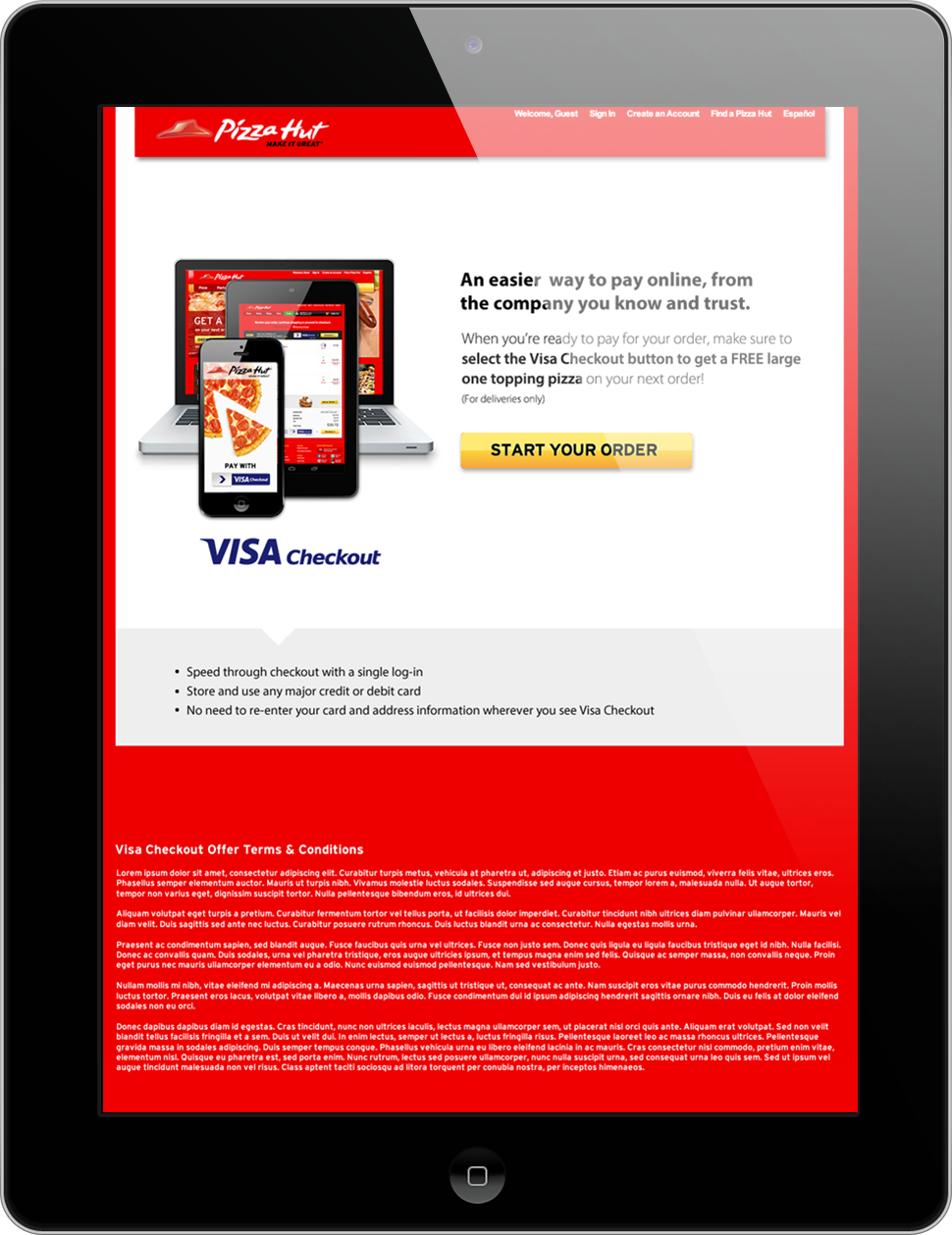A tablet displaying an overview of Visa Checkout on the Pizza Hut website.