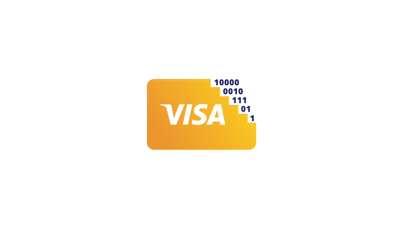 Visa card icon with top right corner made up of ones and zeros