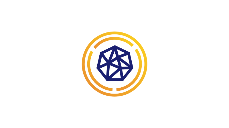 Icon of blue seven-sided polygon interconnected by several lines and surrounded by two concentric gold circles