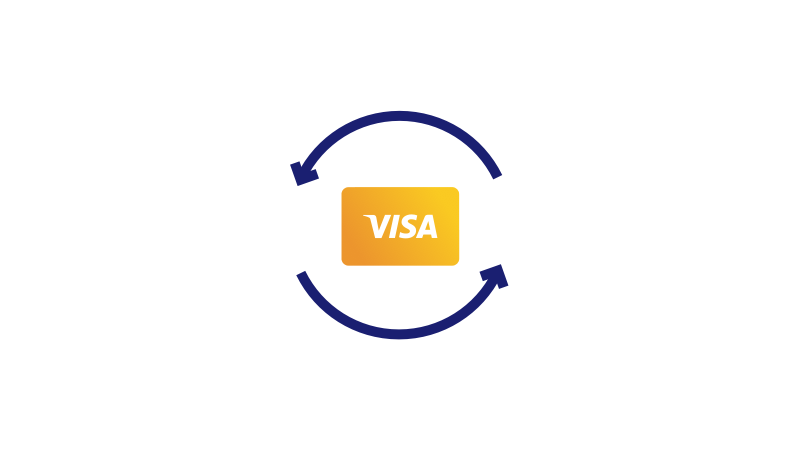 Visa card circled by two blue arrows